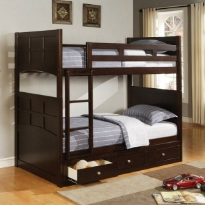 A0019TT Twin Bunk Bed with Under Bed Storage Drawers - Twin bunk bed w/ optional underbed storage<br><br>Storage has full extension glides with English front and back dovetails<br><br>Crafted with rubber wood and birch veneer, finished in cappuccino