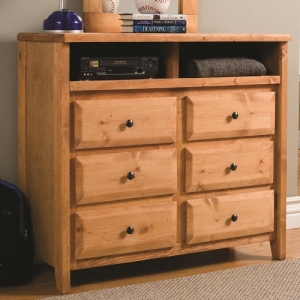 001MCH Media Dresser - Case pieces have metal on metal glides and simple knob hardware<br><br>Solid pine construction for durability