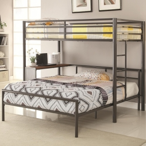 005MLB Twin Metal Workstation Loft Bed - Twin bunk has full guard rails and a built-in ladder. <b>Optional bottom full bed fits in desk space area.</b><br><BR>