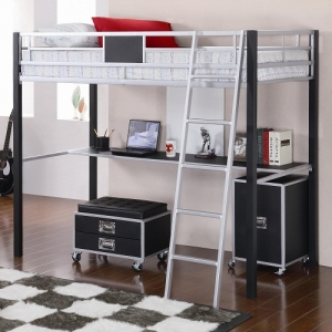 001MLb Twin Loft Bed w/ Desk - Twin loft bed is made of solid metal finished in sleek silver and black that includes a built-in desk and ladder<br><br>
