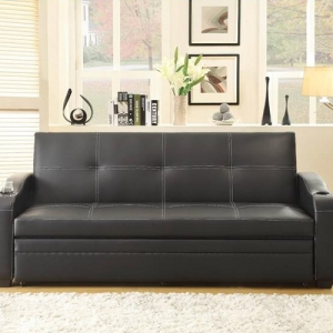 014FN Multi-Functional Sofa Bed - When the click mechanism sofa is adjusted to a fully reclined position, it is met with the pull-out trundle that extends this sofa into a bed<br><br>Other features include cup holders and the black bi-cast vinyl with white contrast stitching cover<br><Br>