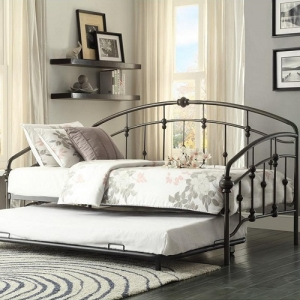 Item # 011MBD Metal Daybed W/ Trundle - Finished in a burnished bronze and is a sturdy in traditional styling. When used as a bed, with the addition of the trundle, your sleep space capability doubles<br><Br>