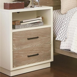 135NS Nightstand - Flip top with power outlet<br><Br>Two drawers<br><br>Built-in night light<br><Br>Open storage area<br><Br>Touch lighting<Br><Br>
