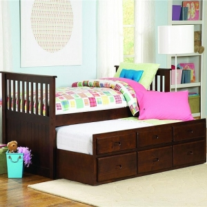 006DB Twin Bed w/ Twin Trundle  - Captains Bed with a pull out trundle for additional sleeping space in espresso finish. This collection is constructed of solid New Zealand pine and other hardwood solids. Trundle with 3 working drawers<br><br>