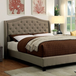 1183FB Full Bed  - Style Contemporary<br> Color/Finish Warm Gray<br> ]Material Solid wood, others<br> Frame Finish Espresso. Upholstery Color Warm gray<br> Product Dimension Full Bed 82