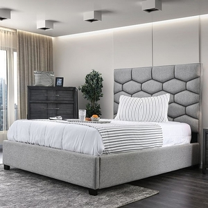 1184FB Full Bed  - Style Contemporary<br> Color/Finish Gray. Upholstery Color Gray<br> Material Fabric, others, solid wood, wood veneer<br> Product Dimension Full Bed 85 1/4