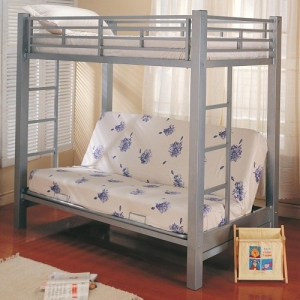 008MLB Multi-Functional Twin Over Futon Metal Bunk Bed - Twin bunk over futon with full length guard rails, bilateral built-in ladders<br><br>