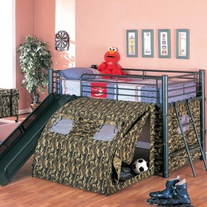 008TB Camouflage Lofted Bed with Slide and Tent - Twin top camouflage pattern loft bed with glossy green frame<br><br>Guard rails and matching coordinating ladder. Base of frame supports 300 pounds minimum<br><br>