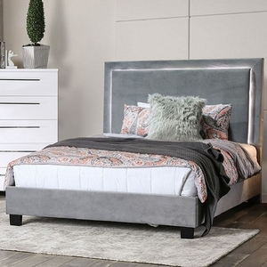 1186FB Full Bed in Gray - Style Contemporary<br> Color/Finish Gray. Upholstery Color Gray<br> Material Flannelette. Frame Finish Espresso<br> Product Dimension Twin Bed 82 1/2