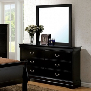 Item # 281DR Black Dresser - Style Transitional<br> Color/Finish Black<br> Material Solid wood, wood veneer, others<br> Hardware Nickel hanging pulls<br> Product Dimension<br> Dresser 56