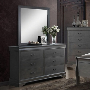 Item # 279DR Grey Dresser - Style Contemporary<br> Color/Finish Gray<br> Material Solid wood, wood veneer, others<br> Hardware Pewter hanging pulls<br> Product Dimension Dresser 58 3/8