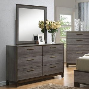 Item # 282DR Antique Grey Dresser - Style Contemporary<br> Color/Finish Two-tone antique gray<br> Material Solid wood, others<br> Hardware Brass bar pulls<br> Product Dimension Dresser 59