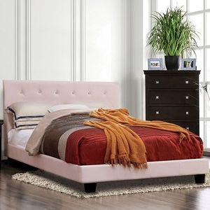 1187 Full Bed in Blush Pink - Style Contemporary<br> Color Blush Pink, Upholstery Color Blush Pink<br> Material Flannelette, leatherette, others, wood, wood veneer<br> Frame Finish Black<br> Product Dimension Full Bed 81 1/2