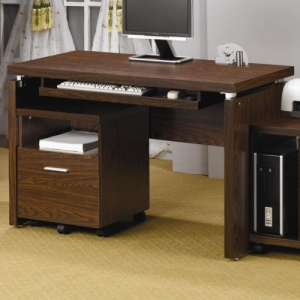 Item # 144D Computer Desk - Features a floating top and a keyboard drawer<br><Br> Matching two-drawer CPU stand with casters for mobility
