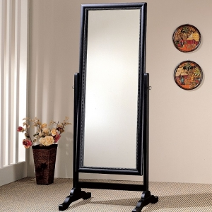 Item # 012CM Cheval Mirror - Grand cheval mirror in rubbed black finish<br><Br>Features roped carving frame inlay around the mirror