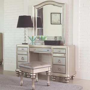 973M Mirror - Finish: Metallic Platinum<br><br>Vanity Desk & Stool Sold Separately<br><br>Dimensions: 39.25