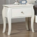 050NS Nightstand W/ Drawer - French country design<br><br>Case pieces have silver metal knobs, finished in white<br><br><b>Drawer Glide Type:</b> Euro Slide Glides
