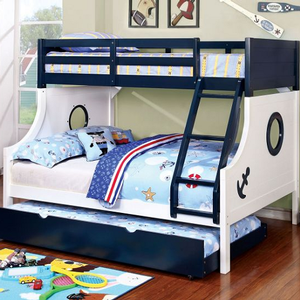 A0005TF Twin/Full Sailor Bunk Bed - Finish: Blue/White<br><br>Slat Kit Included<br><br>Dimensions: 78 1/8
