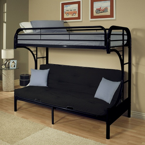 Item # A0009FBB - Finish: Black<br><br>Available in Yellow, Green, Red, White, Blue, Silver & Purple Finish<br><br>Available in Twin XL/Queen Futon Bunk Bed<br><br>Dimensions: 78