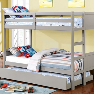 Item # A0015FF Full/Full Bunk Bed in Gray - Finish: Gray<br><br>Available in White or Dark Walnut Finish<br><br>Available in Twin/Twin Bunk Bed<br><br>Foundation Required<br><br>Dimensions: 77 1/2