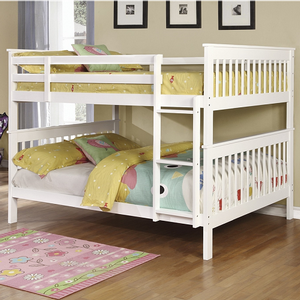 Item # A0018FF Full/Full Bunk Bed w/ Bunk to Bunk Ladder - Finish: White<br><br>Available in Black<br><br>*Optional Storage Trundle<br><br>Slat Kit Included<br><br>Available in Twin/Twin Bunk Bed & Twin/Full Bunk Bed<br><br>Dimensions: 79.75