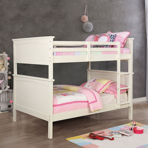 Item # A0023FF Full/Full Bunk Bed - Finish: White<br><br>Available in Black finish<br><br>Available in Twin/Twin and Twin/Full<br><br>Optional Trundle<br><br>Dimensions: 81
