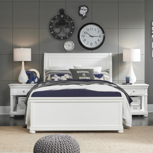 Item # A0023T - Finish: White<br><br>Available in Warm Cherry Finish<br><br>Available in Full Size and Queen Size Bed<br><br>Dimensions: 43W x 90D x 52H