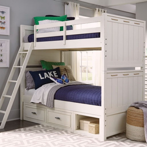 Item# A0013TT - Finish: Pearl White<br><br>Available in Twin over Full Bunk Bed<br><Br>Trundle/Underbed Storage unit sold separately<br><br>Can be separated into two twin beds<br><br> Dimensions: 80W x 67D x 70H