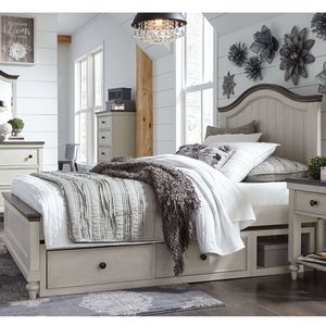 Item # A0090T - Finish: Vintage Linen finish and Rustic Dark Elm<br>Available in Full Size<br>Dimensions: 43W x 81D x 54H