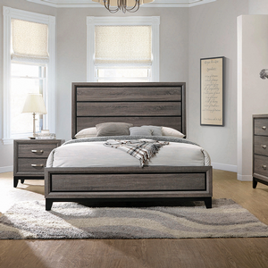 Item # A0119T - Finish: Grey Oak / Black<br><br>Available in Medium Warm Brown Finish<br><br>Bed Show in Queen Size<br><br>Available in Full Size<br><br>Dimensions: 42.25W x 80.75D x 56.50H