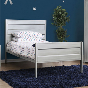Item # A0016B - Twin Iron Bed<br>Finish: Hand-brushed Silver<br>Dimensions: 79L X 41W X 43 7/8H
