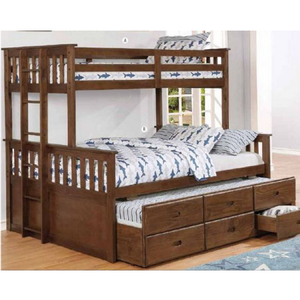 Item # A0031QB - Finish: Weathered Walnut<br><br>Slat Kit Included<br><br>Available in Twin/Full Bunk Bed<br><br>Dimensions: 86.50