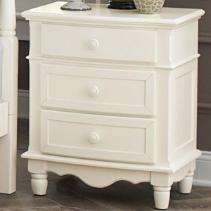 Item # 005NS 3 Drawer Nightstand - Wooden knob hardware stands boldly against the double bow-fronted case goods<br><br>