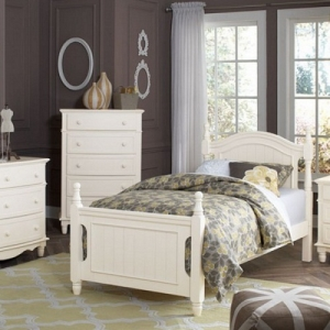 0241T Twin Bed - This traditional bed offers a customized sleep space to suit your individual needs<br><br>Decorative accents of framed bead-board paneling and scalloped base<br><br>Trundle is optional