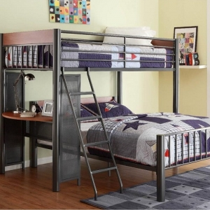 012MLB Metal Loft Bed - Perches above the built-in student desk is the twin bed with metal framing that lends an air of contemporary style and a light graphite finish<br><br>