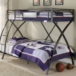 018MBB Metal Bunk Bed - The bunk bed provides ample room in a futuristic configuration.<br><br>Chrome-finished, diamond plate metal accents and a cool gunmetal grey powder-coat finish<br><br>