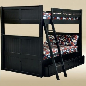 Item # A0002FF Full/Full Bunk Bed in Black - *Underneath Storage Sold Separately*