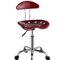 Item # 045CHR Dark Red & Chrome Adjustable Height Rolling Chair - Dimensions: 17 3/8
