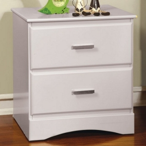 033NS White 2 Drawer Nighstand - Durable Center Metal Glides<br><br>