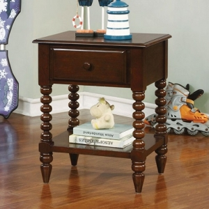 Item # A0012NS - Transitional Style<br><Br>Single Drawer Night Stand<br><br>Unique Carved Leg Detail<br><br>Open Shelf Display Space<br><br>