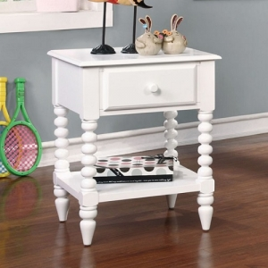 053NS White Nightstand - Transitional Style<br><br>Single Drawer Night Stand<Br><br>Unique Carved Leg Detail<br><Br>Open Shelf Display Space<br><br>