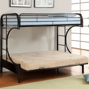 0084FNMBB Black Twin/Futon - Contemporary Style<br><br>Non-Recycled Heavy Gauge Tubing<br><br>Full Metal Construction<br><br>Attached Ladder on Both Sides<br><br>
