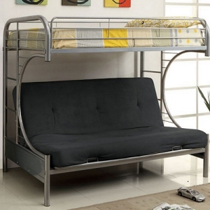 0086FNMBB Silver Twin/Futon - Contemporary Style<Br><Br>Full Metal Construction<br><br>Attached Ladder on Both Sides<br><br>Improved Rail Reinforcement<br><br>Non-Recycled Heavy Gauge Tubing<br><Br>