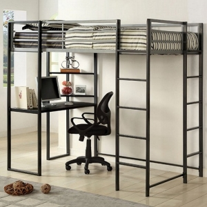 014MLB Full Bed W/ Workstation - Available in Twin<br><Br>Workstation w/ Shelves<br><br>Metal Upper Safety Rails<br><br>Full Metal Construction<br><br>Silver & Gun Metal Finish<br><br>
