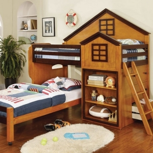 Item # 003TLB Twin/Twin Loft Bed - House Design Loft Bed<br><br>Movable Lower Bed with Casters<br><br>Drawers & Shelves<br><br>14 Pc. Slats Top & Bottom<br><br>Angled Ladder<br><br>