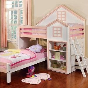 004TLB Twin/Twin Loft Bed - House Design Loft Bed<br><br>Movable Lower Bed with Casters<br><br>Drawers & Shelves<br><br>14 Pc. Slats Top & Bottom<br><br>