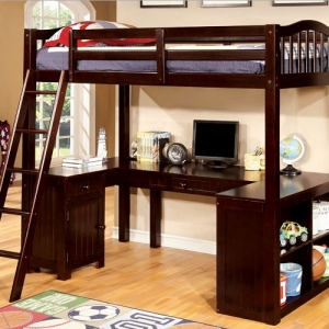 006TLB Twin Loft Bed W/ Workstation  - Built-in Desk<br><br>Angled Ladder<br><br>Multiple Storage<br><Br>14 Pc Slats Top & Bottom<br><br>Extra Safety Insert & Lock Joint Structure<br><br>