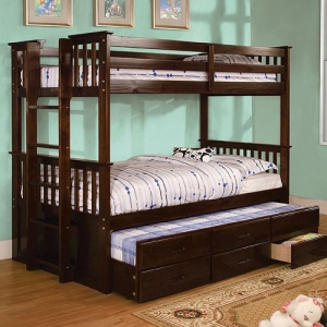 A0016TF Twin Over Full Bunk Bed - Side Access Ladder<br><Br>13 Pc. Slats Top & Bottom<br><br>