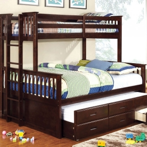 Item # 010QB Twin XL/Queen Bunk Bed - 13 Pc. Slats Top & Bottom<br><br>Side Access Ladder<br><Br>Extra Safety Insert & Lock Joint Structure<br><Br>