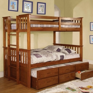 Item # A0024TT - Finish: Oak<br>Upper Bed Clearance: 33H<br>Dimensions: 81 1/2